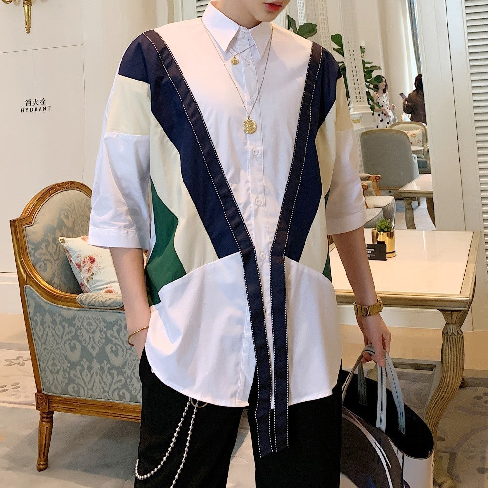 Ribbon Splice Stripe Streetwear Style Men Shirts