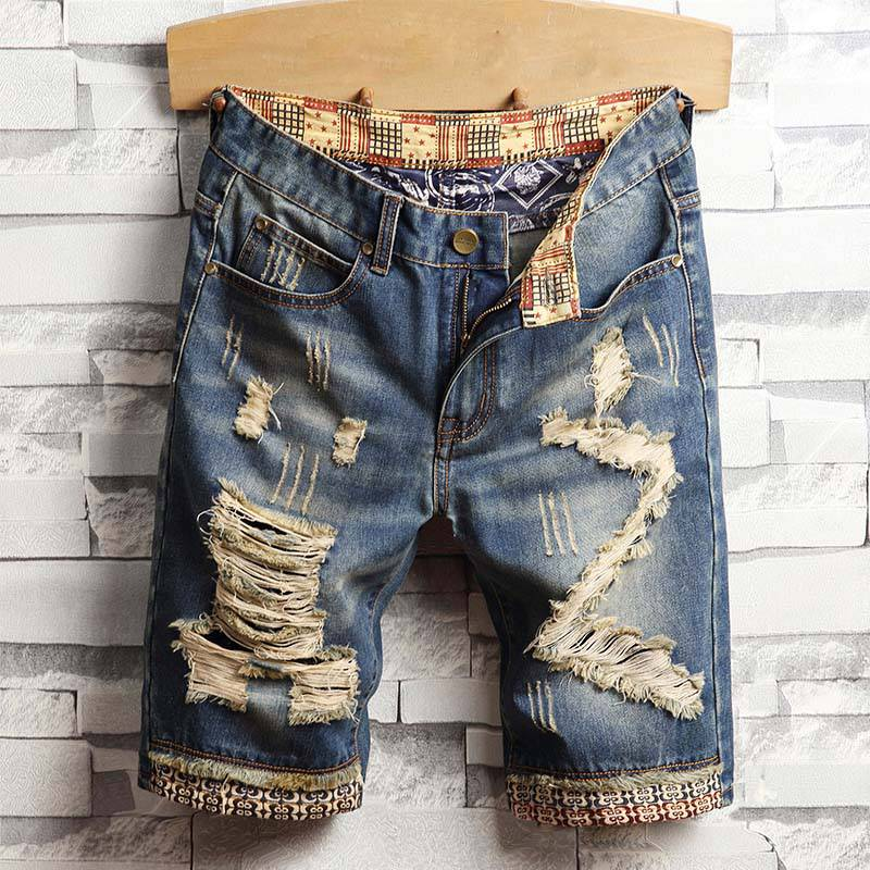 Casual Ripped Knee Length Denim Style Men Shorts