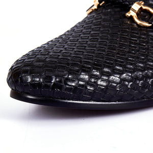 Woven Style Men Loafers Shoes with Horsebit Style Buckle Detail - FanFreakz