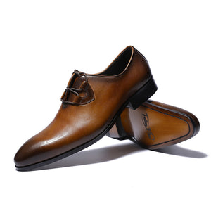 Gradient Pointed Toe Cross Tied Men Dress Shoes - FanFreakz