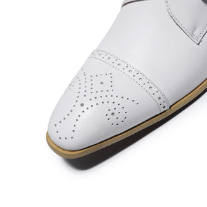 Single Monk Strap White Men Formal Shoe with Perforated Details on The Toe - FanFreakz