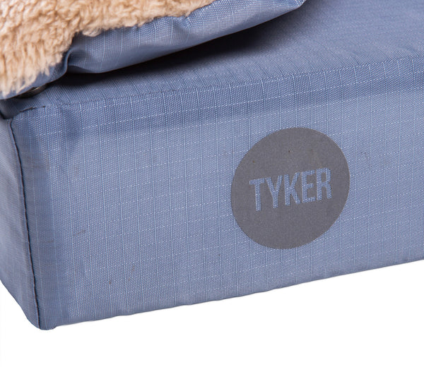 square memory foam fawn dog bed with plush cover and reflective tyker logo