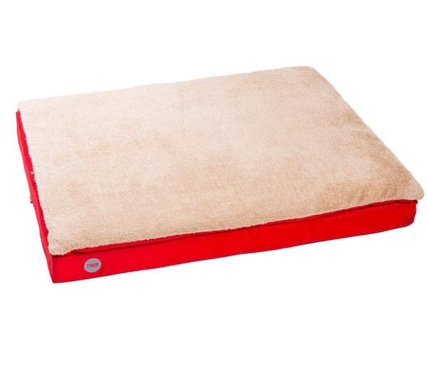 square memory foam red dog bed with plush cover and reflective tyker logo