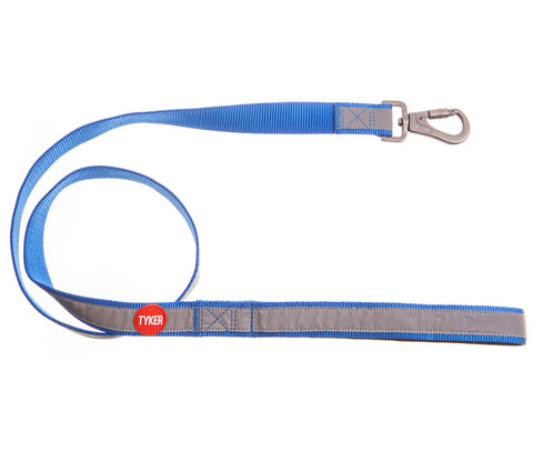 blue classic reflective dog leash with red and white tyker logo