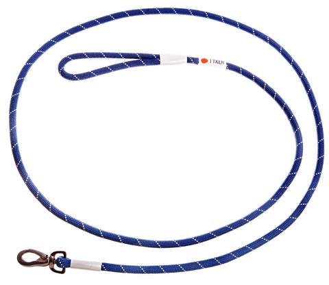 blue climbing rope leash with black and white tyker logo  and metal clip