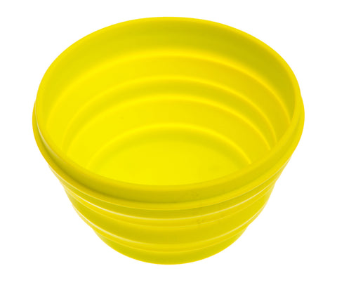 yellow collapsible foldable retractable travel dog bowl