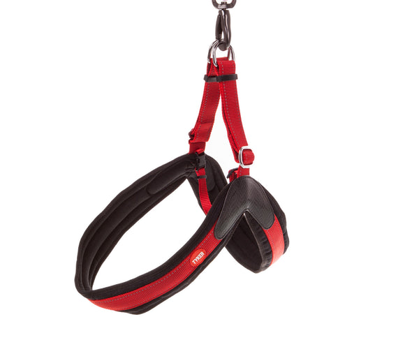 side of a hanging red and black dog collar with black padding and red and white tyker logo