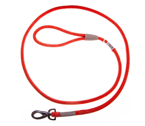 red climbing rope leash with black and white tyker logo  and metal clip