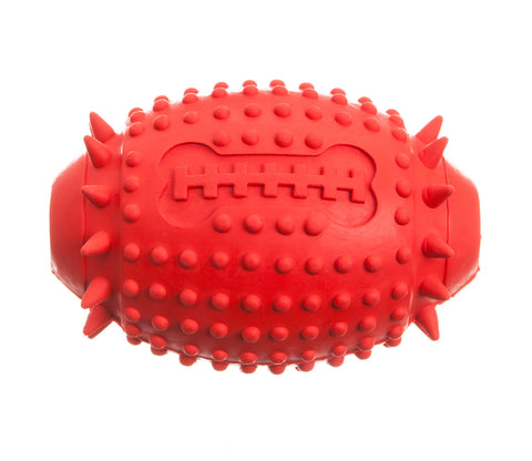 red rugby rubber treat dispenser dog toy