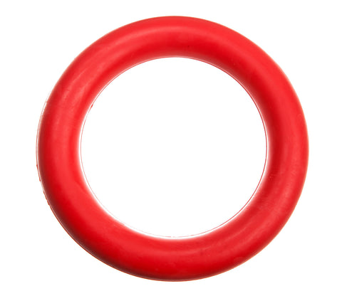 red classic solid rubber ring dog toy