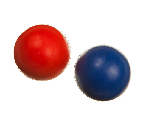 red and blue classic rubber balls dog toys