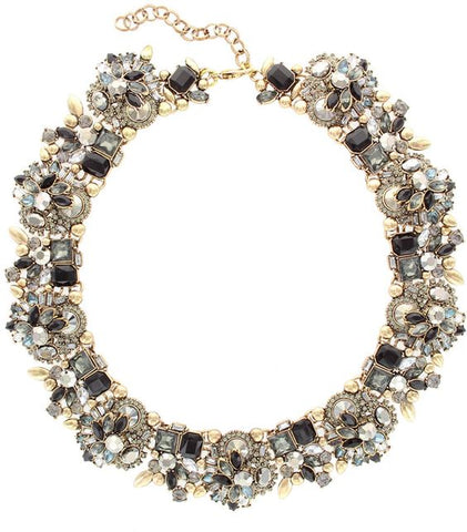 Black Crystal & Gold Verena Statement Necklace - Navya