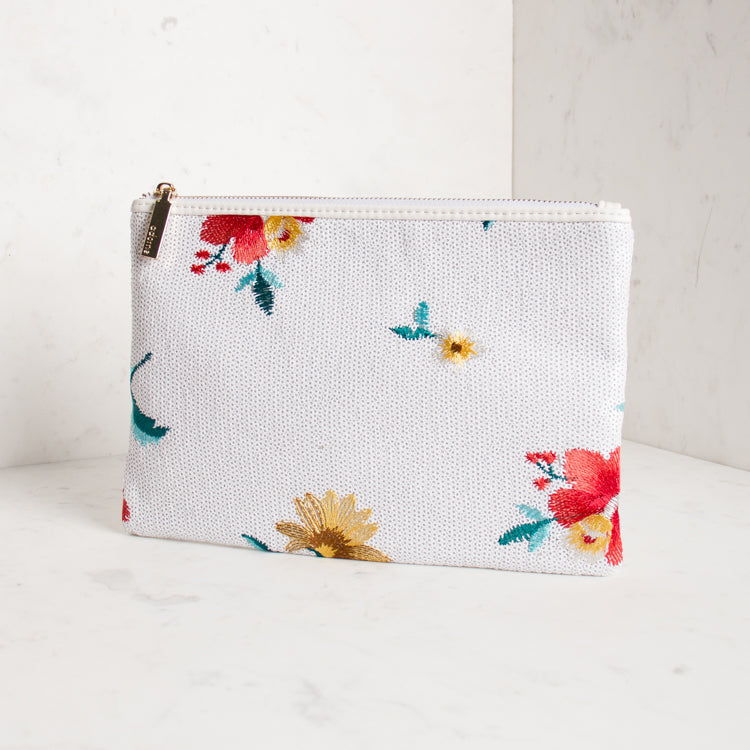 Embroidered Flower Sequin Clutch - White - Navya