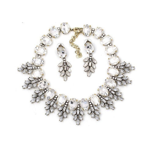 Frozen Crystal Statement Necklace Set - Navya
