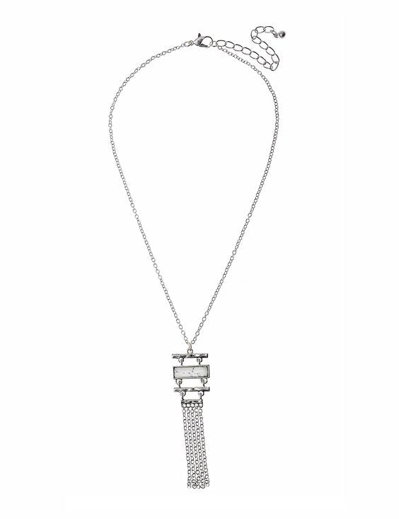 Rectangle Howlite Stone with Silver Tassel Necklace - Navya