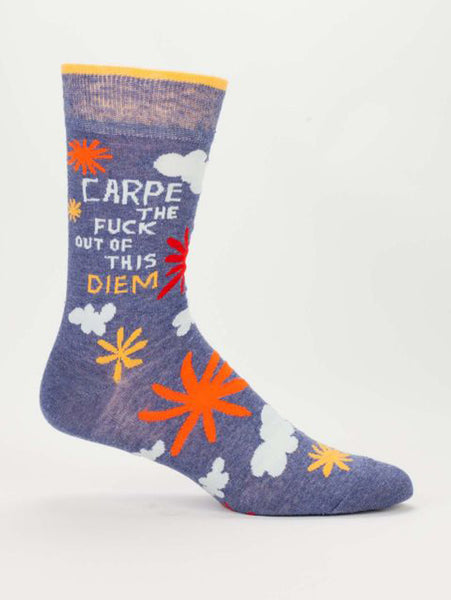 Men's Crew Socks - Carpe the Diem - Blue Q - Navya