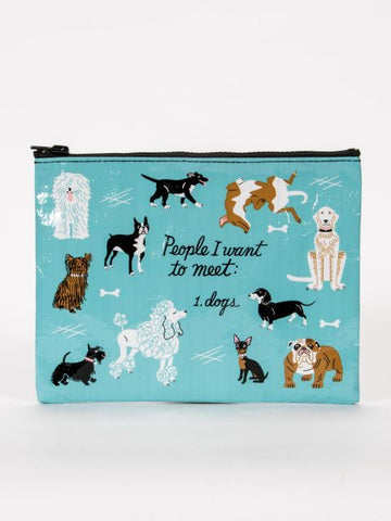 People I want to Meet, Dogs Zipper Pouch - Blue Q - Navya