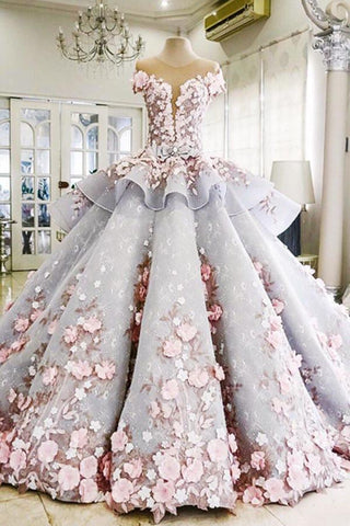 Pretty Backless Quinceanera Dress,Ball Gown Long Wedding/Prom Gown OK258
