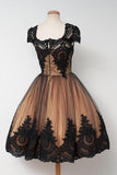 Vintage Black Applique Cap Sleeves Homecoming Dresses,Tulle Pretty Cheap Short Prom Dresses OK355