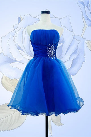 Royal Blue Short Prom Dresses Sparkly Strapless Homecoming Dresses K279