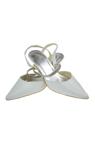Ankle Strap Handmade White Close Toe Wedding Shoes  S4