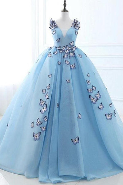 Ball Gown Long Sky Blue Butterfly V Neck Prom Dress,Quinceanera Dresses OKE79