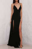 Sexy High Slit Black Open Back Prom Dresses, Elegant Long Black Woman Evening Gown OK152