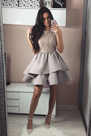 Bateau A Line Tiered Grey Satin Short Homecoming Party Dress with Lace OKB40