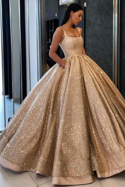Beading Sequins Gold Ball Gown Prom Dress with Pockets,Long Quinceanera Dresses OKE59