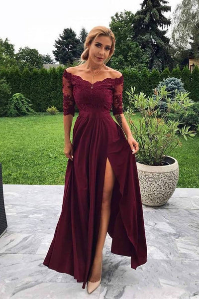 Off the Shoulder Half Sleeve Burgundy Modest Prom Dress,Bridesmaid Dresses with Slit OKH99