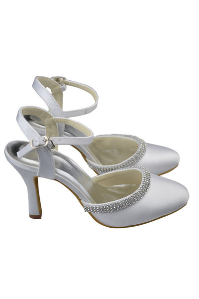Ankle Strap Beading High Heel White Comfy Satin Party Shoes S124