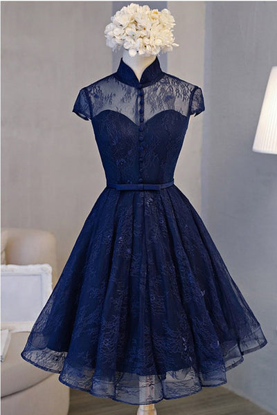 Vintage Homecoming Dresses,Lace Homecoming Dresses,Navy Blue Homecoming Dress,Short Prom Dress,Short Sleeve Homecoming Dresses,Homecoming Dress For Teens