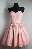 Simple Homecoming Dress,Pink Homecoming Dress,Short Prom Dresses,A line Homecoming Dress,Graduation Dress,Simple Homecoming Dresses,Strapless Prom Dresses,Sweetheart Homecoming Dress