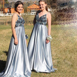A-Line Spaghetti Straps Backless Blue Popular Prom Dress with Beading,Bridesmaid Dresses OKH53