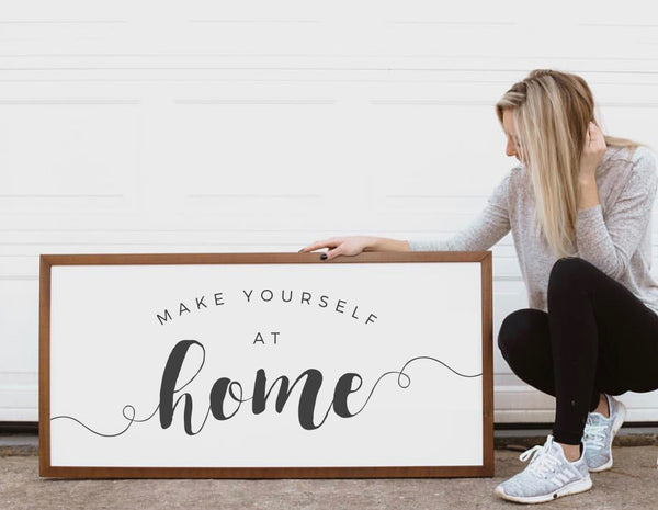 Wood Framed Signboard - At Home - Multiple Sizes