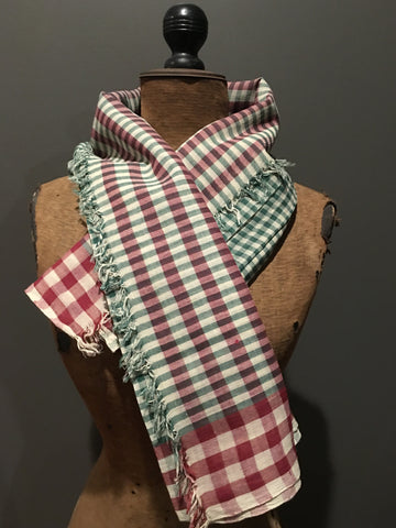 Handwoven checkered red and green scarf