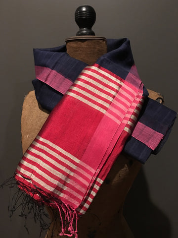 Indigo and red scarf in handwoven silk and khadi cotton