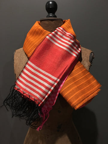 Orange and red scarf in handwoven silk and khadi cotton