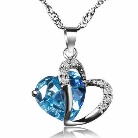 2045344657 - 925 Sterling Silver CZ Heart Pendant Necklace
