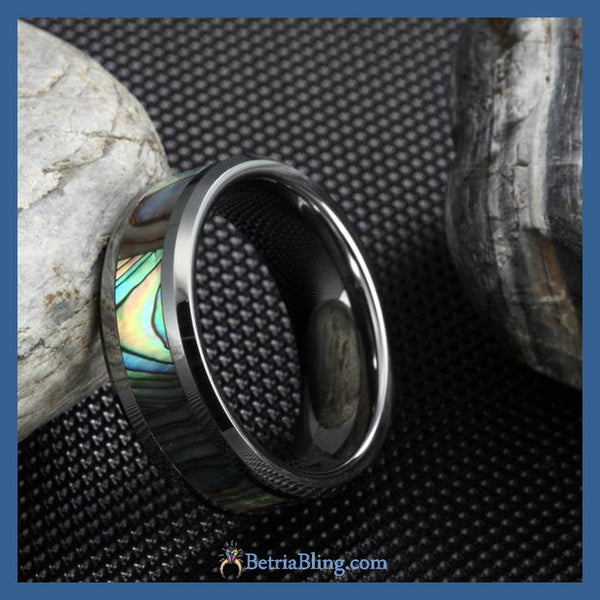 32558228923 - 0.31 Inch Wide Tungsten Carbide Green Abalone Ring