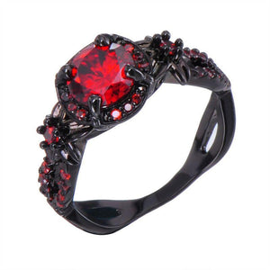 32621604211 - Black Gold Filled Promise Ring With Cubic Zirconia Ruby Stone
