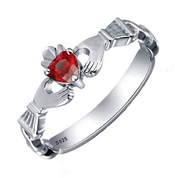 32658530472 32828421523 - Sterling Silver Birthstone Claddagh Ring