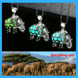 32710819032 - Silver Plated Glow In The Dark Elephant Necklace