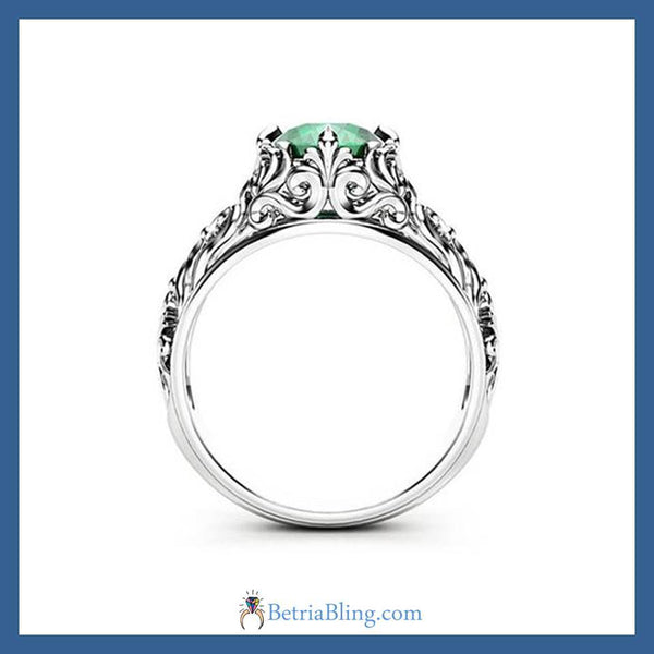 32916228601 - Gothic Green Engagement Ring