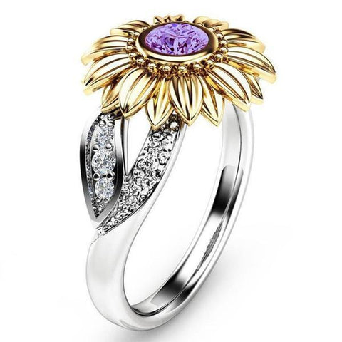 32945780265 - 925 Sterling Silver Sunflower Ring