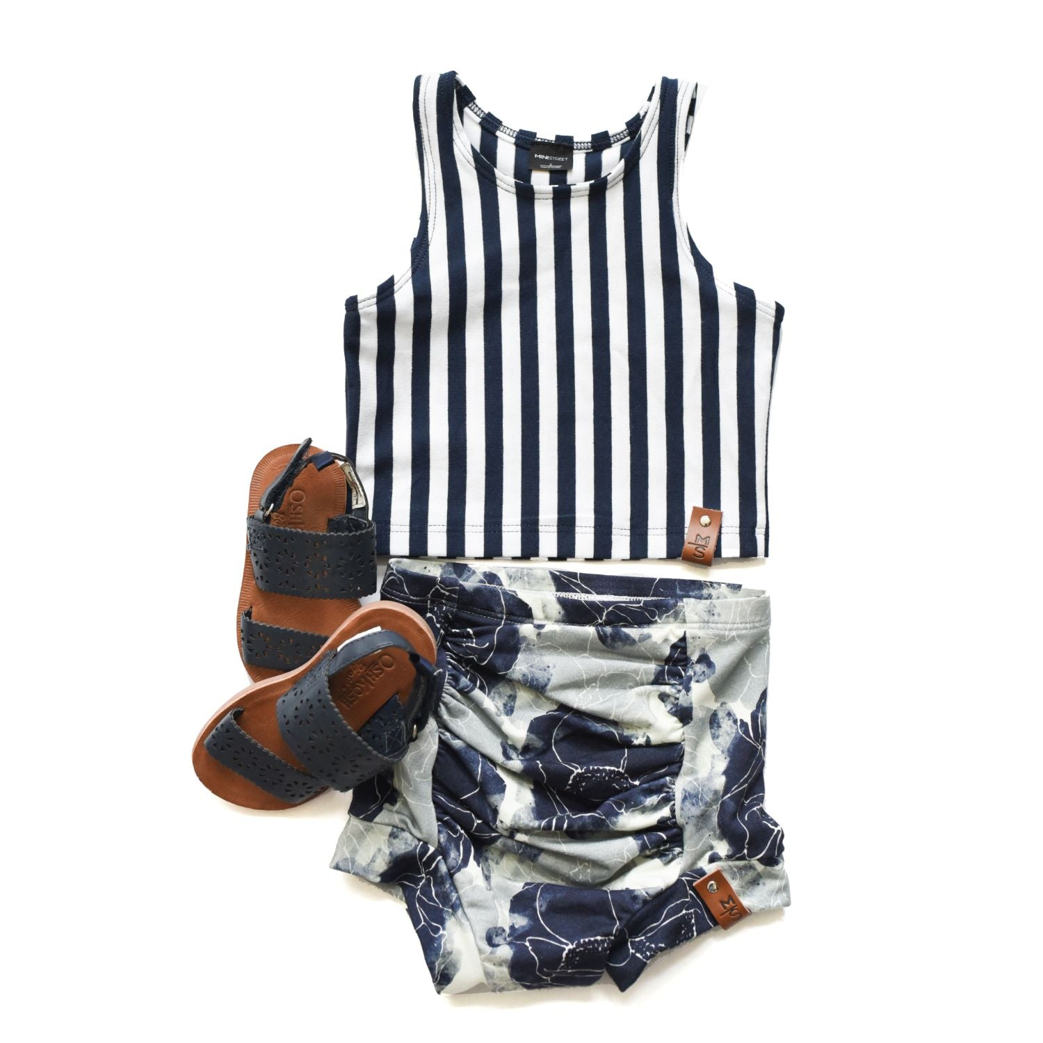 Miley Crop Tank - Navy Stripe