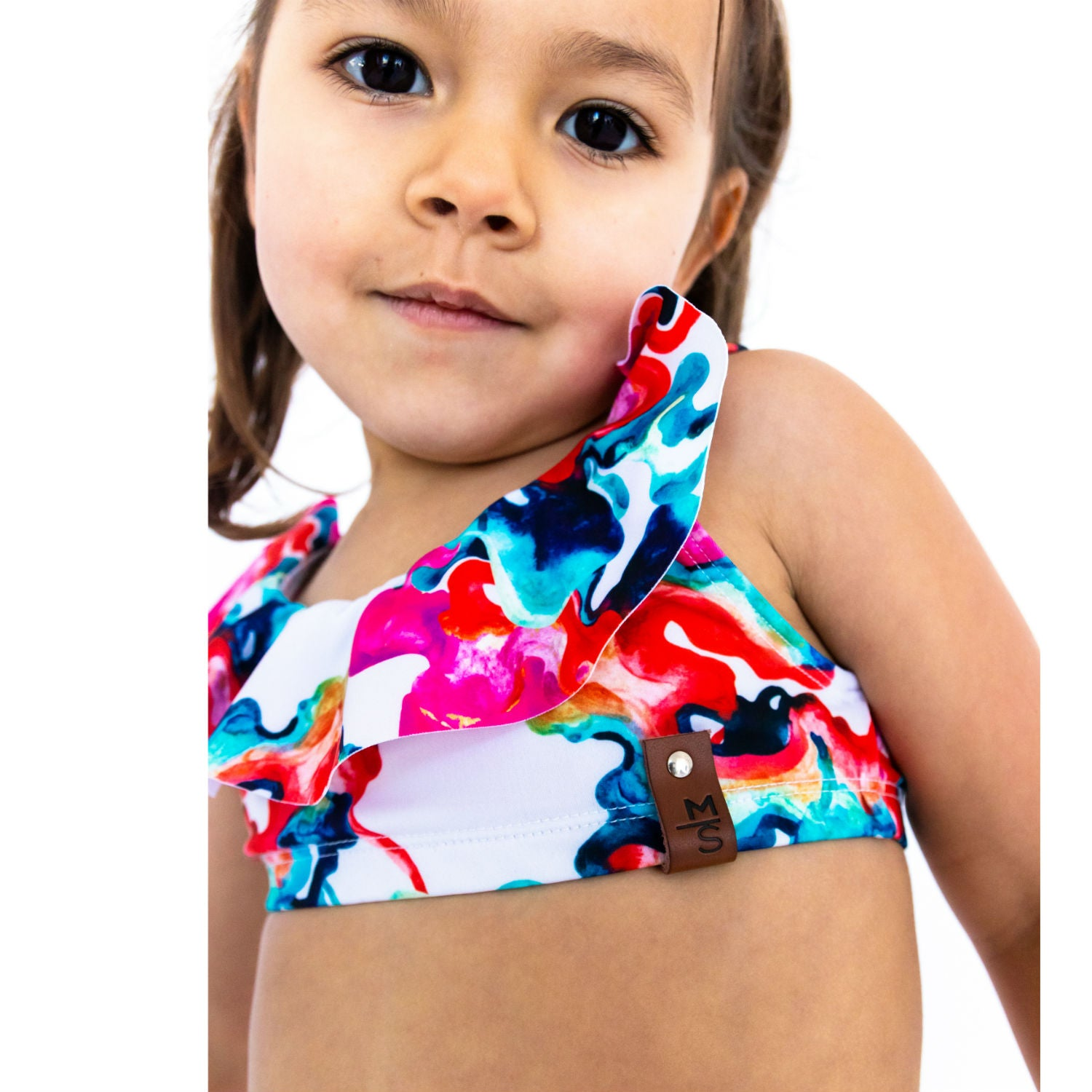 Ariana Flutter Swim Top - Watercolor