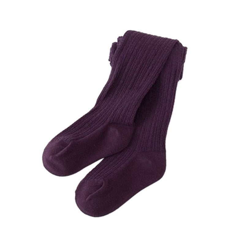 Purple cable knit seamless tights for baby and kids.