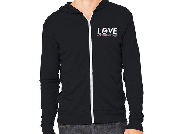 Love A Four Legged Word Zipper Hoodie-Classic Black