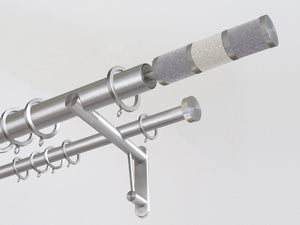 30mm diameter stainless steel double curtain pole system with Combination finials in Bedewed
